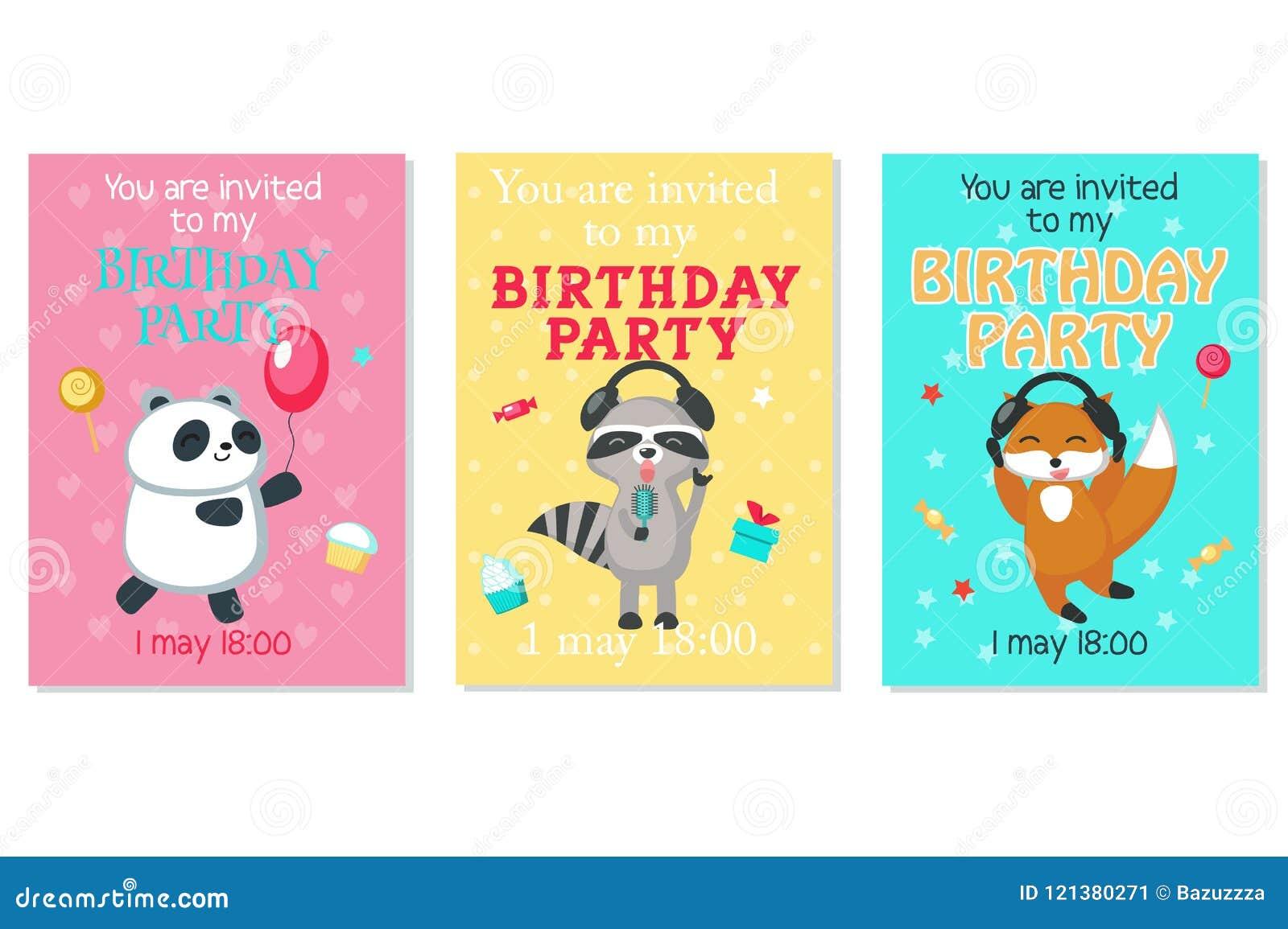Tarjetas De La Invitación Del Cumpleaños Del Vector Con Los