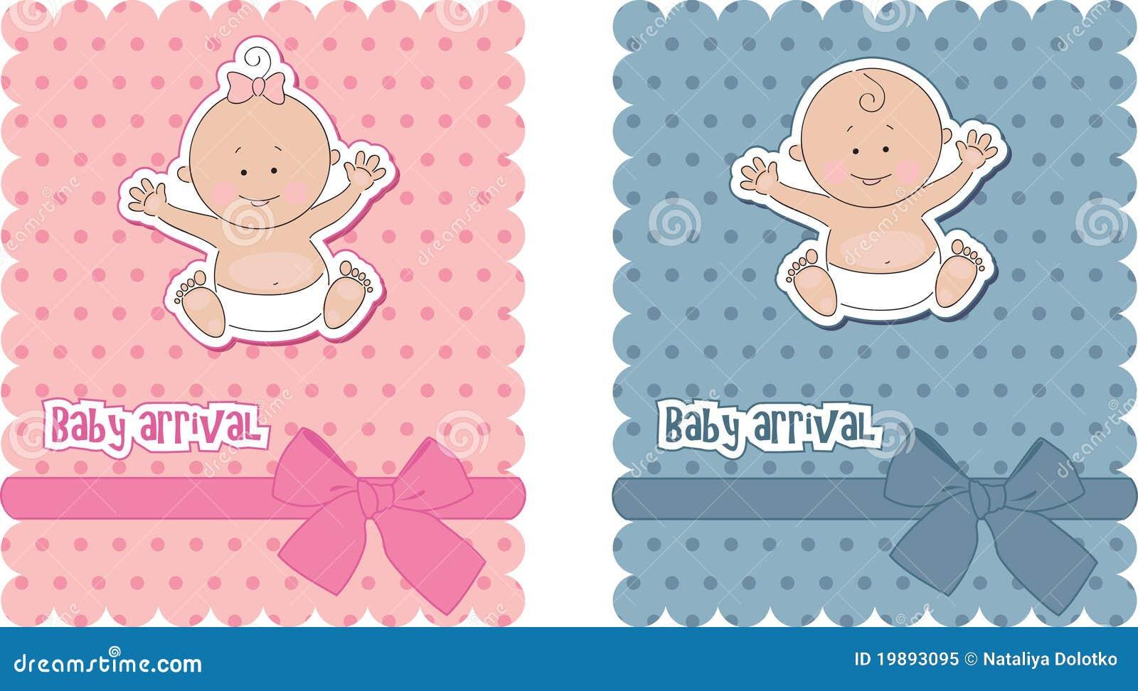 Tarjetas De Llegada Del Bebé Foto de archivo libre de regalías ...