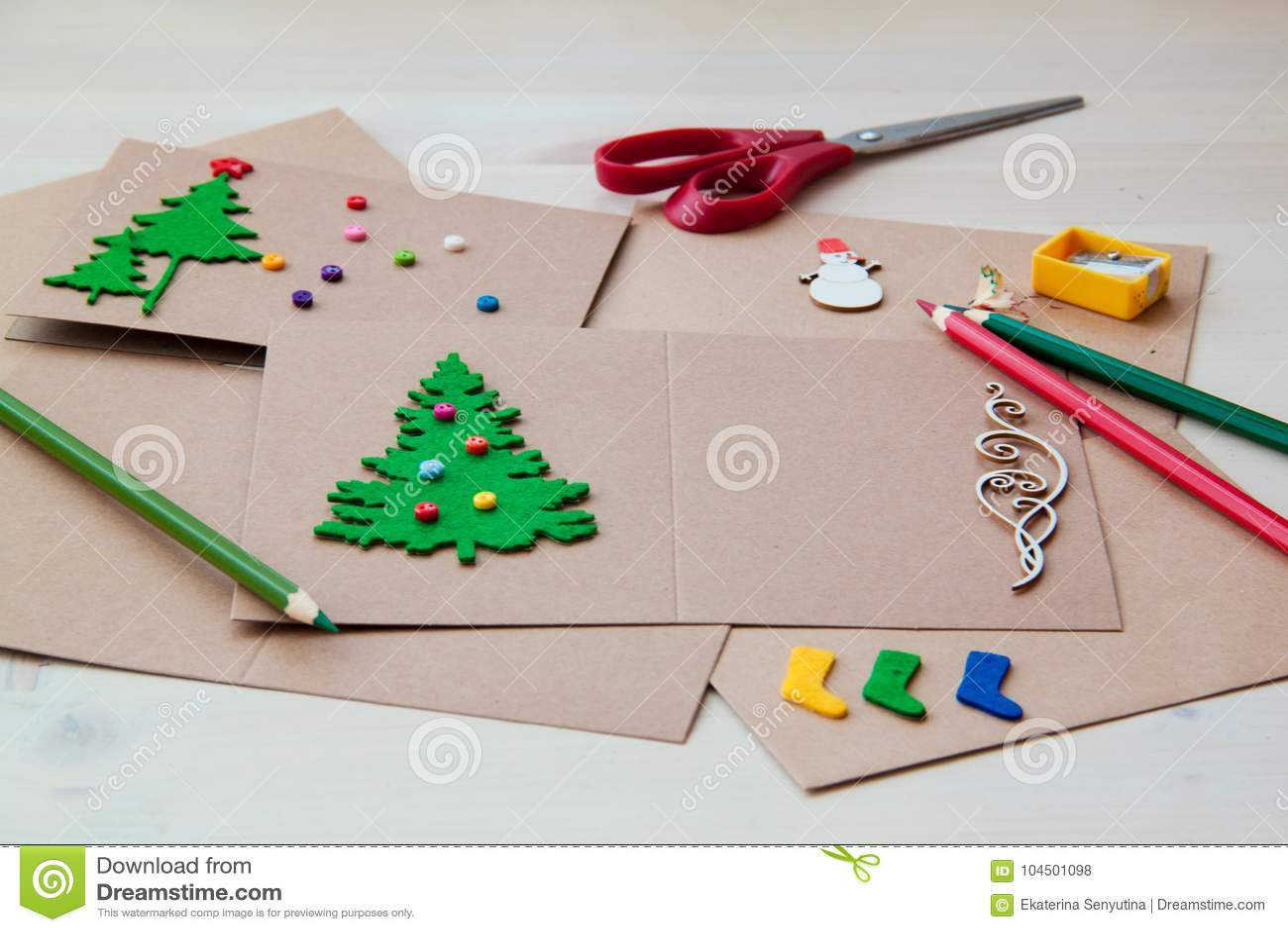 Programa Postales De Navidad.Tarjetas De Navidad Hechas A Mano De Firma Fieltro Tijeras