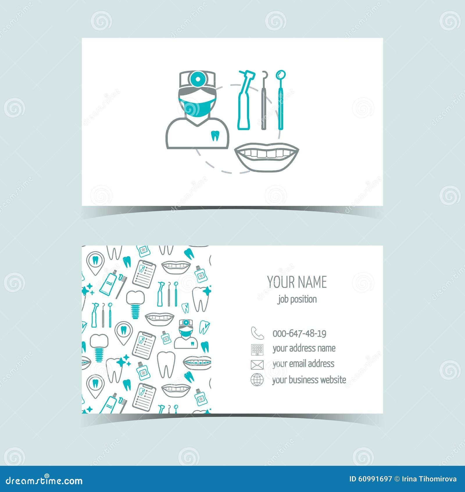 Tarjetas de visita para la clínica dental Productos promocionales Línea iconos Diseño plano Vector