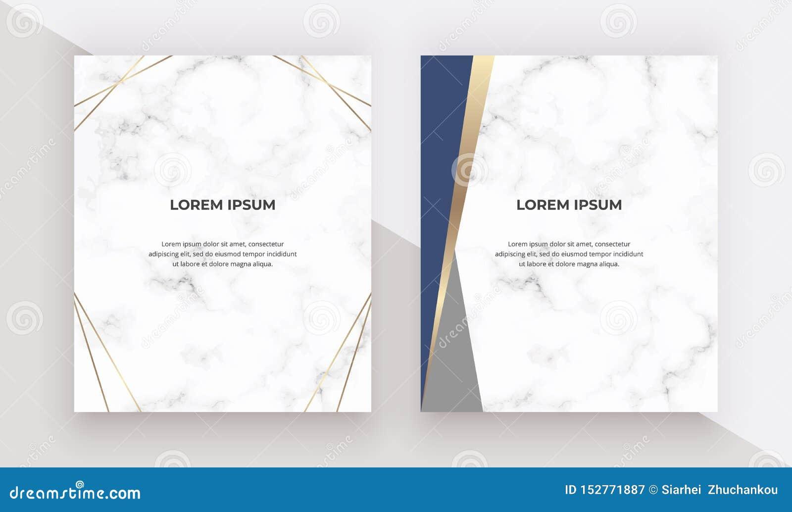 Tarjetas del diseño geométrico con los triángulos del azul y del oro en la textura de mármol Plantillas modernas para casarse la