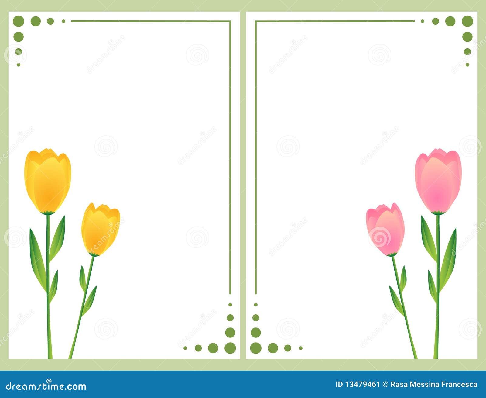 tarjetas florales con los tulipanes imagen de archivo