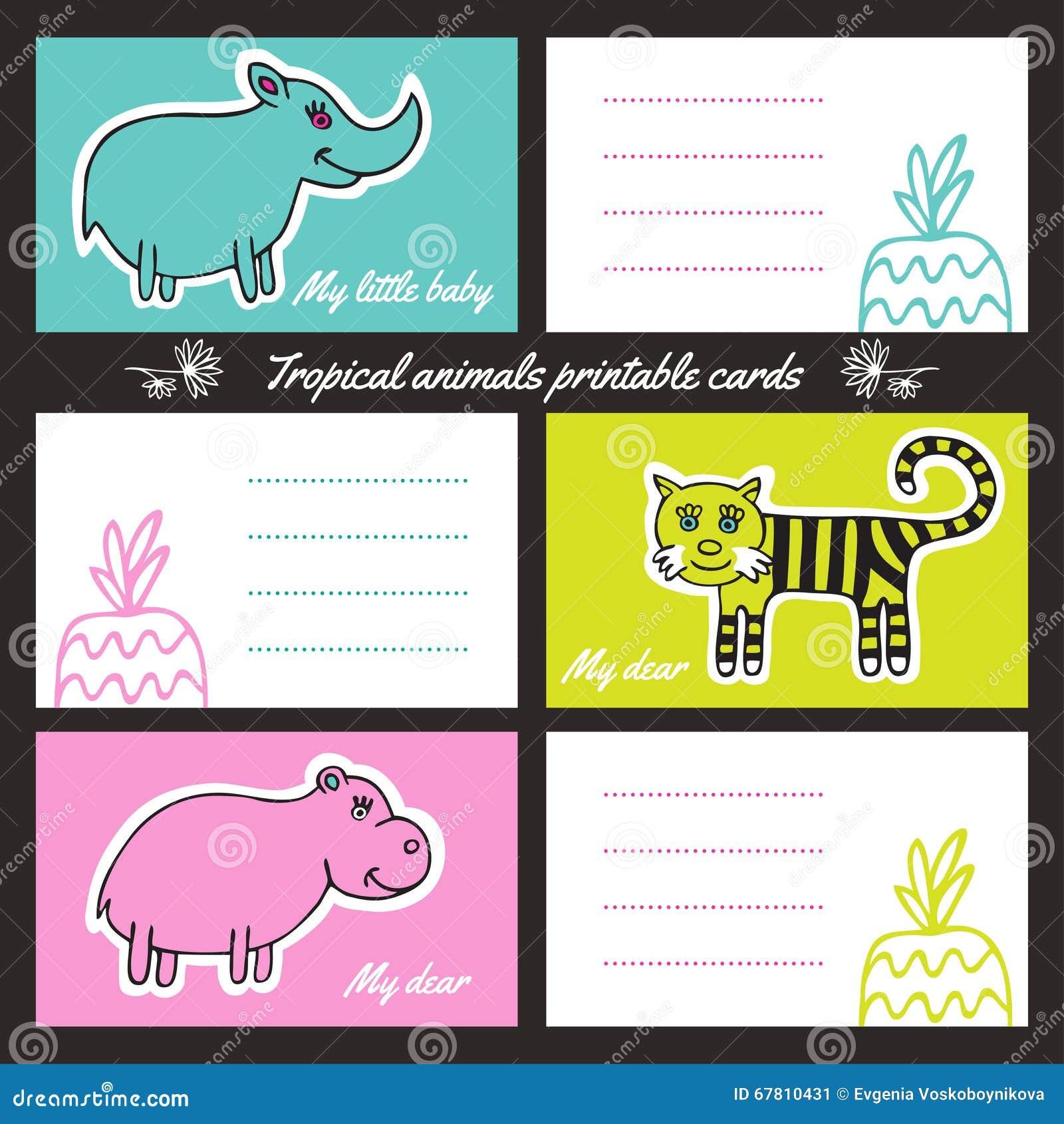 Tarjetas Imprimibles De Los Animales Tropicales Ilustración del ...