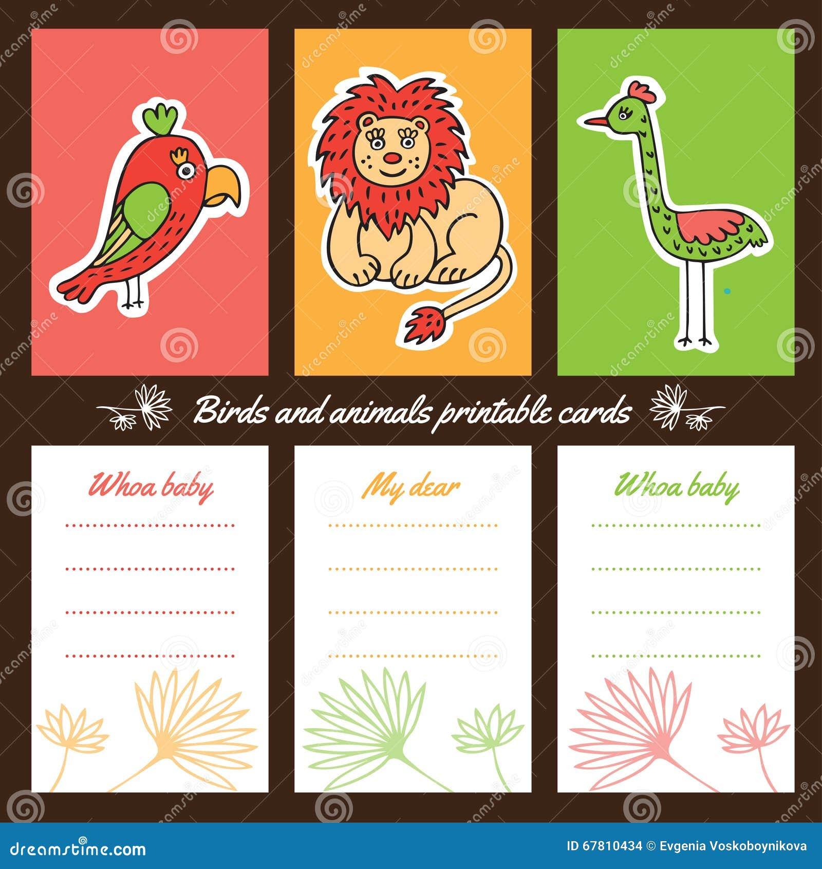 Tarjetas Imprimibles De Los Pájaros Y De Los Animales Ilustración ...