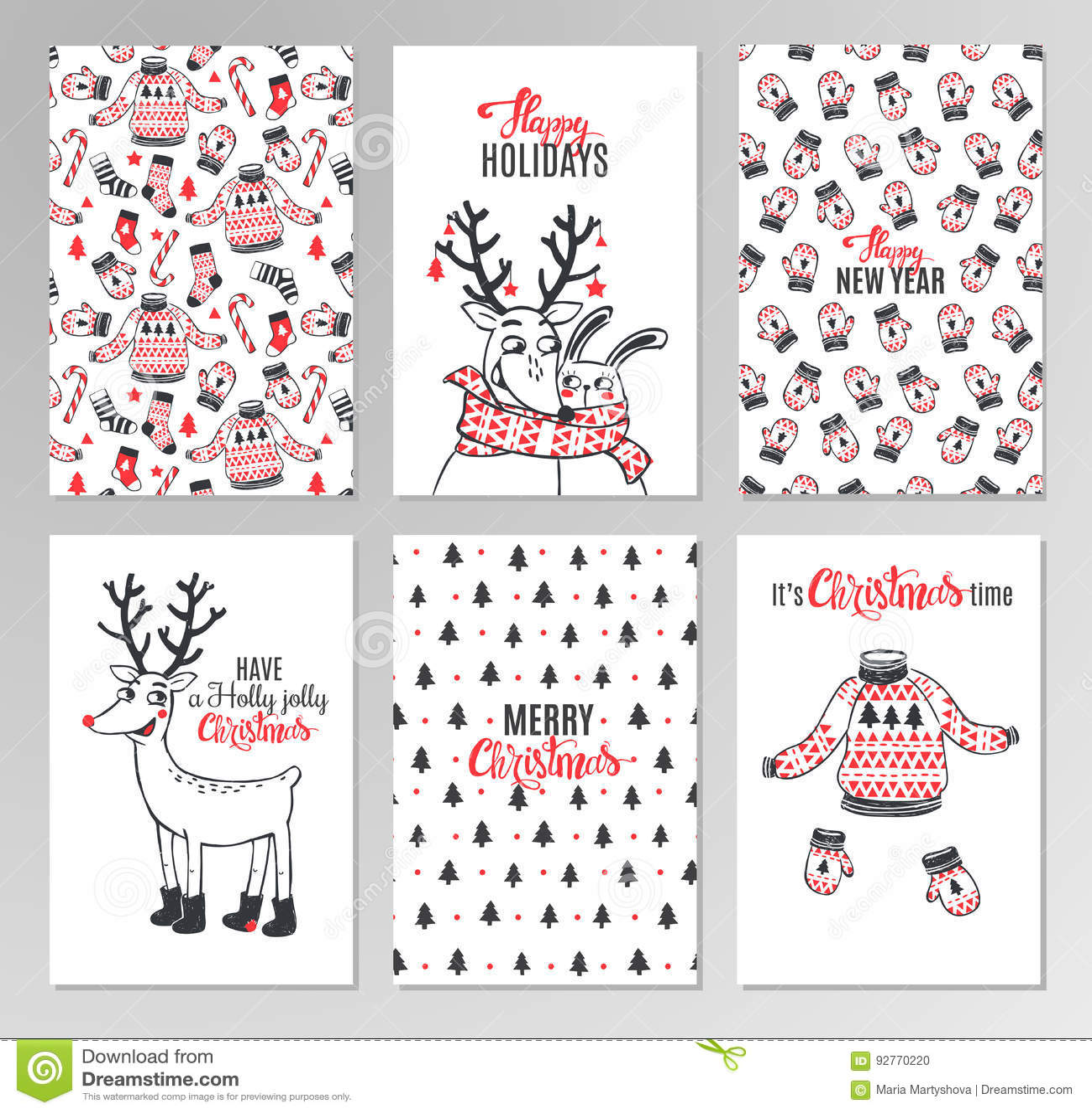 Tarjetas Imprimibles Dibujadas Mano De La Navidad Ilustración del ...