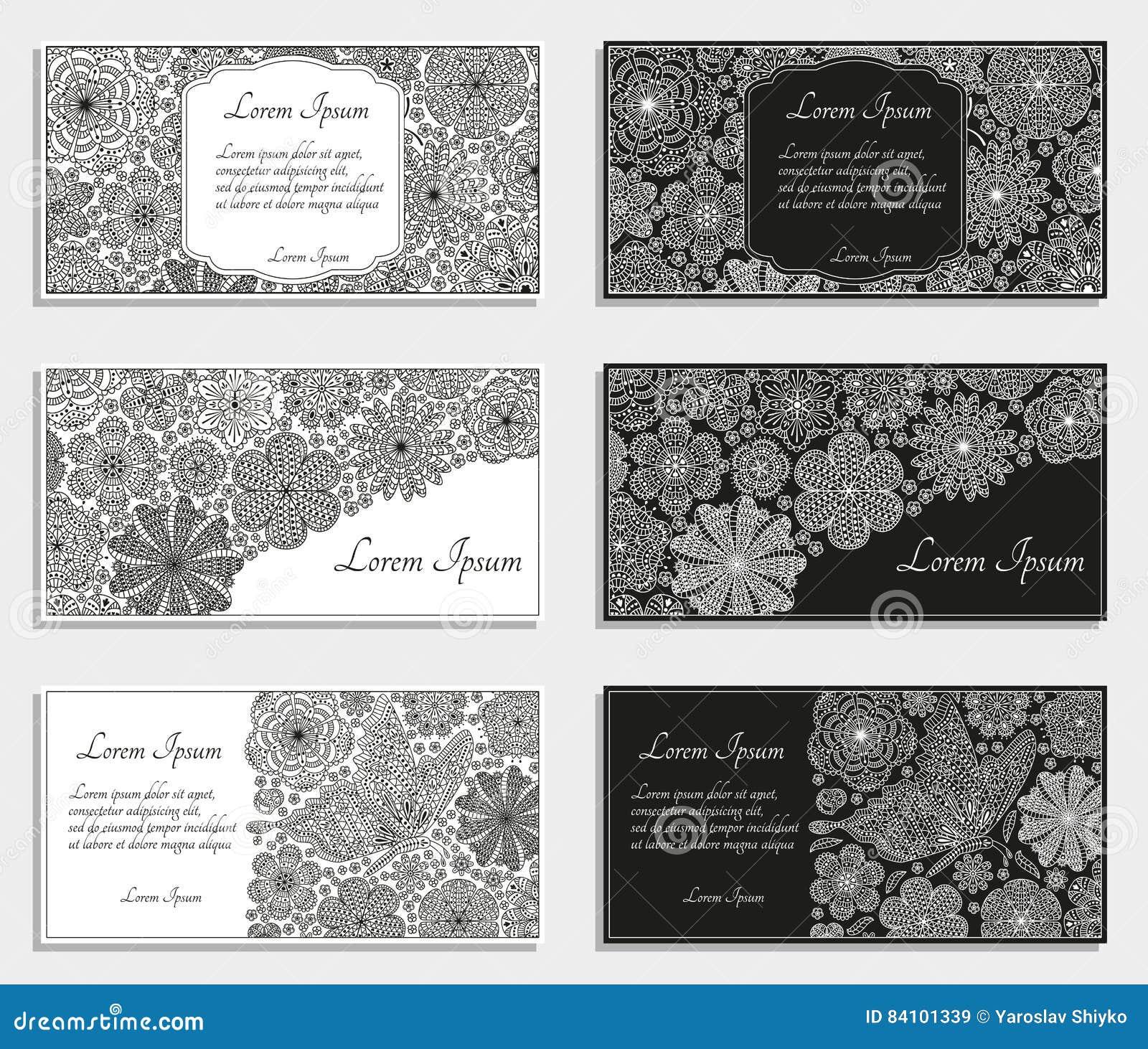 Tarjetas o plantillas de felicitación con las flores estilizadas