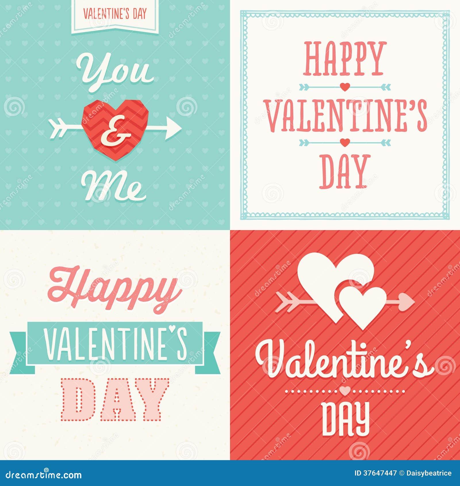 Tarjetas Tipográficas De La Tarjeta Del Día De San Valentín Del ...