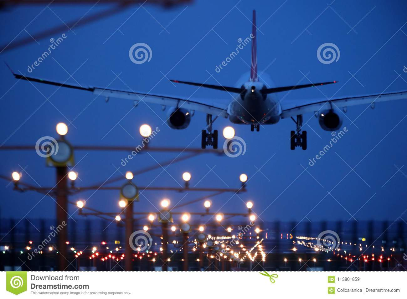 Tarom Plane In The Sky, Landing On Runway Editorial Stock Image