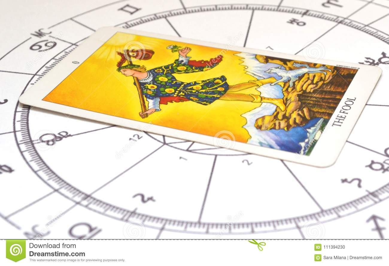 Tarot And Astrology Fool Card On A Astro Chart Stock Photo Image