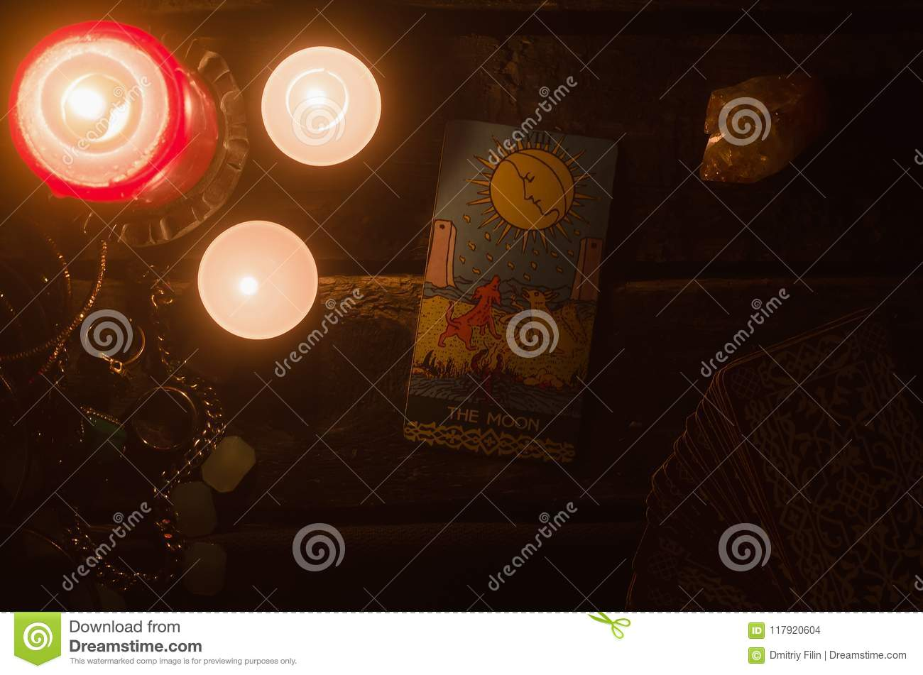 Tarot Card  Future Reading  Divination  Stock Photo - Image of moon