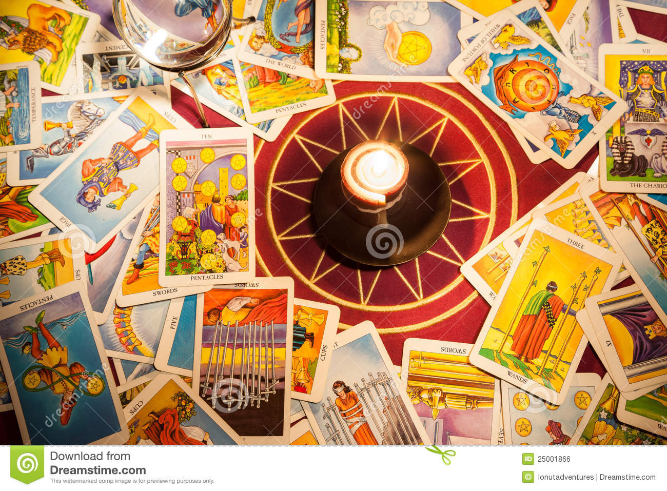 Tarot cards with a candle.