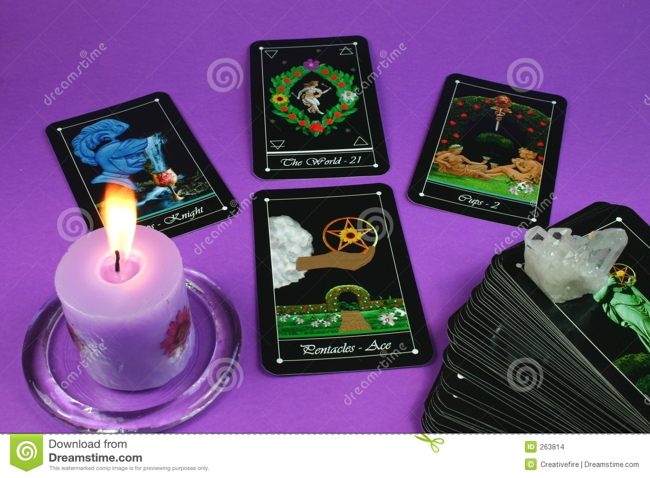 Tarot Cards and Candle stock photo  Image of layout, cards - 263814