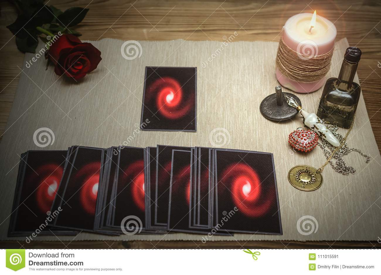 Tarot Cards  Fortune Teller  Divination  Stock Image - Image of rose