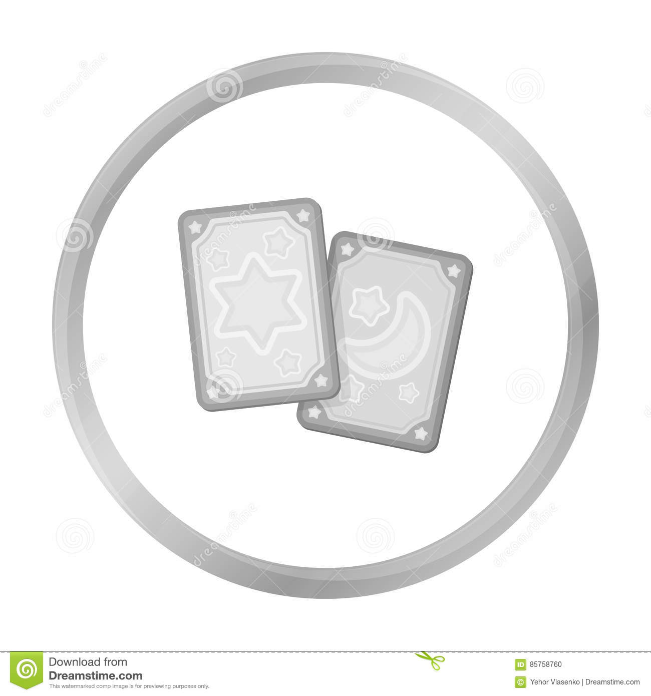 Tarot Cards Icon In Monochrome Style Isolated On White Background
