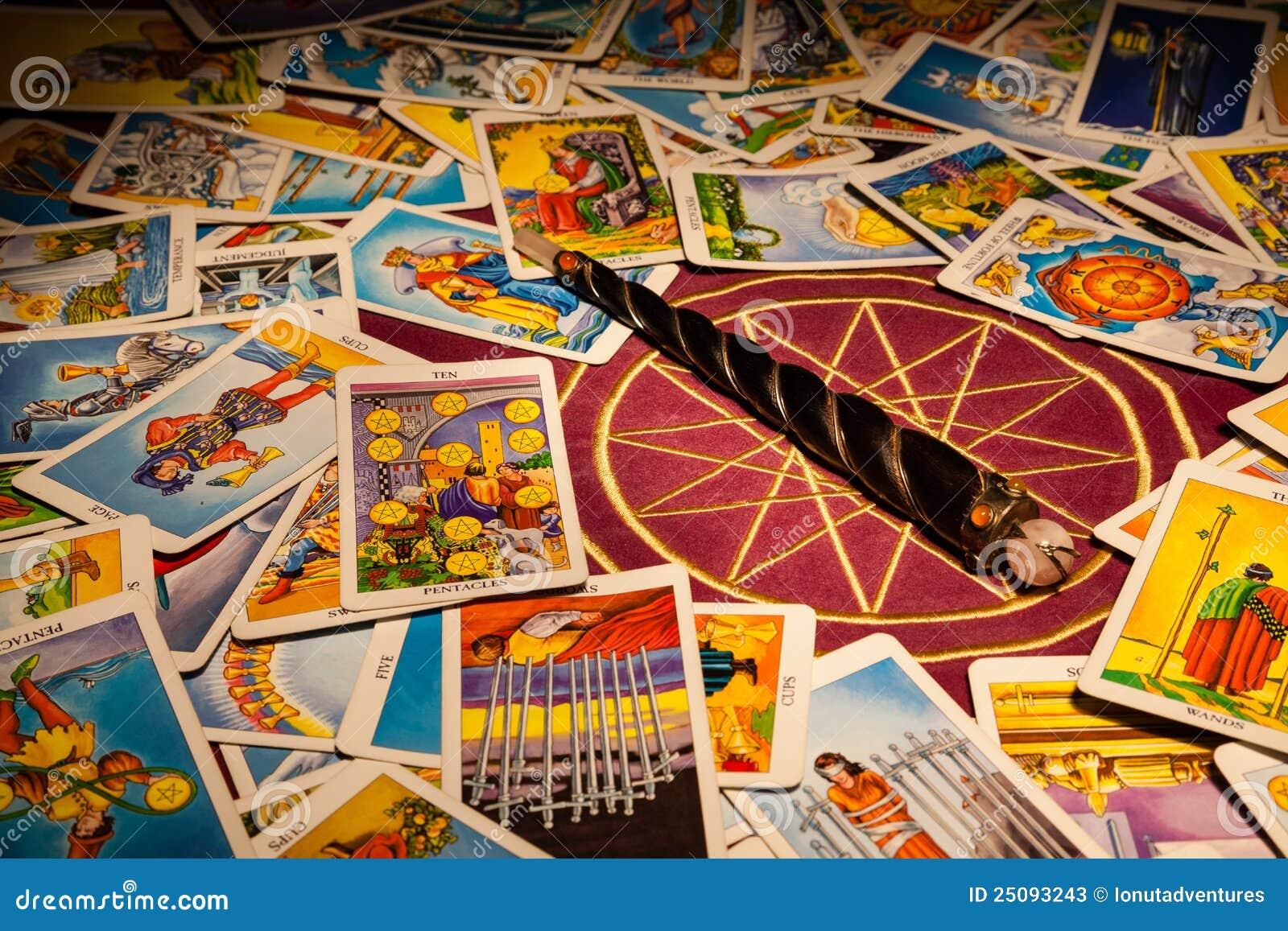 Tarot cards with a magic wand.