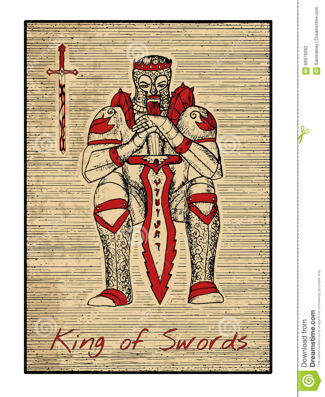 The Tarot Cards In Red King Of Swords Stock Vector Illustration