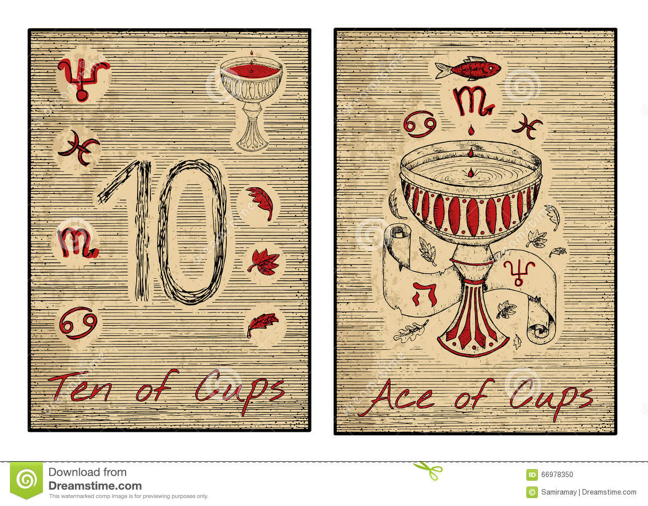 The Tarot Cards In Red. Ten And Ace Of Cups Stock Vector