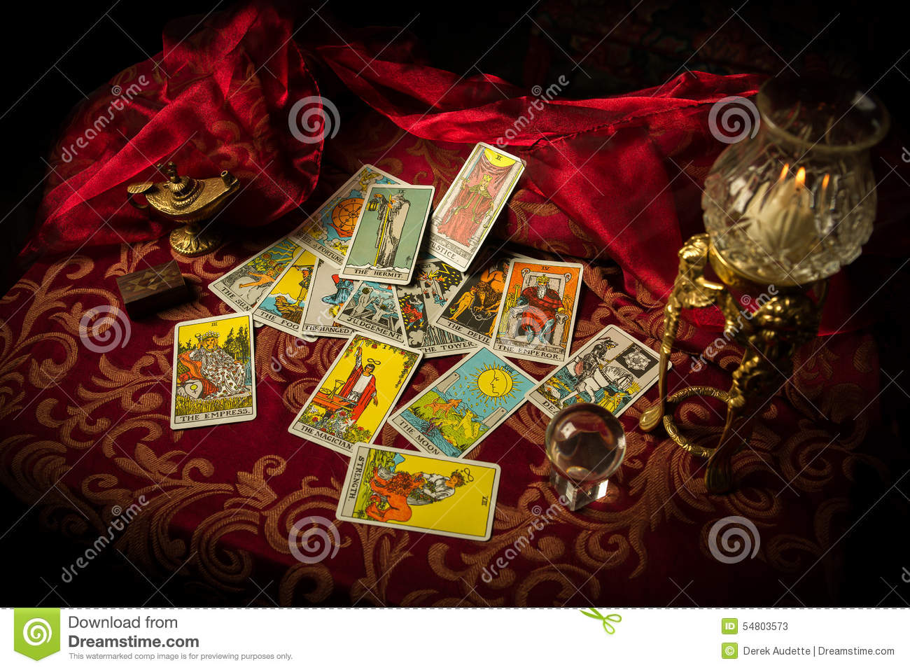 Tarot Cards Spread And Scattered On Table Haphazardly Stock