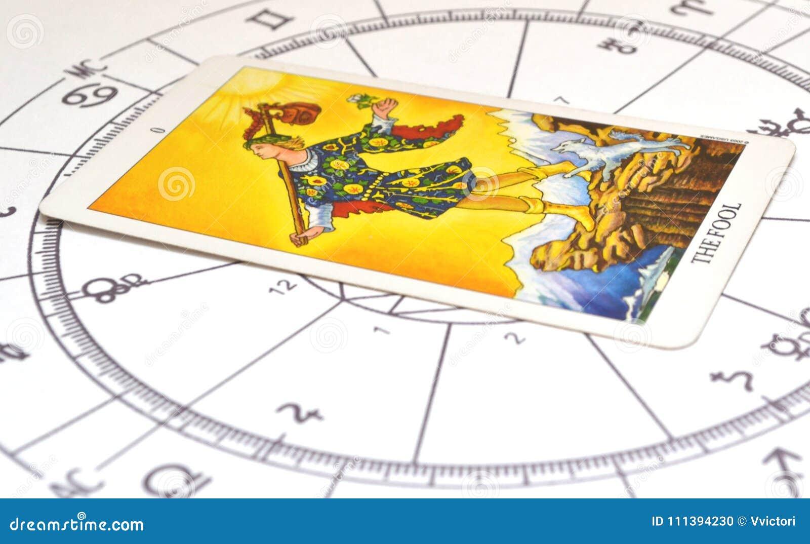 Tarot et astrologie Carte d imbécile sur un diagramme d astro