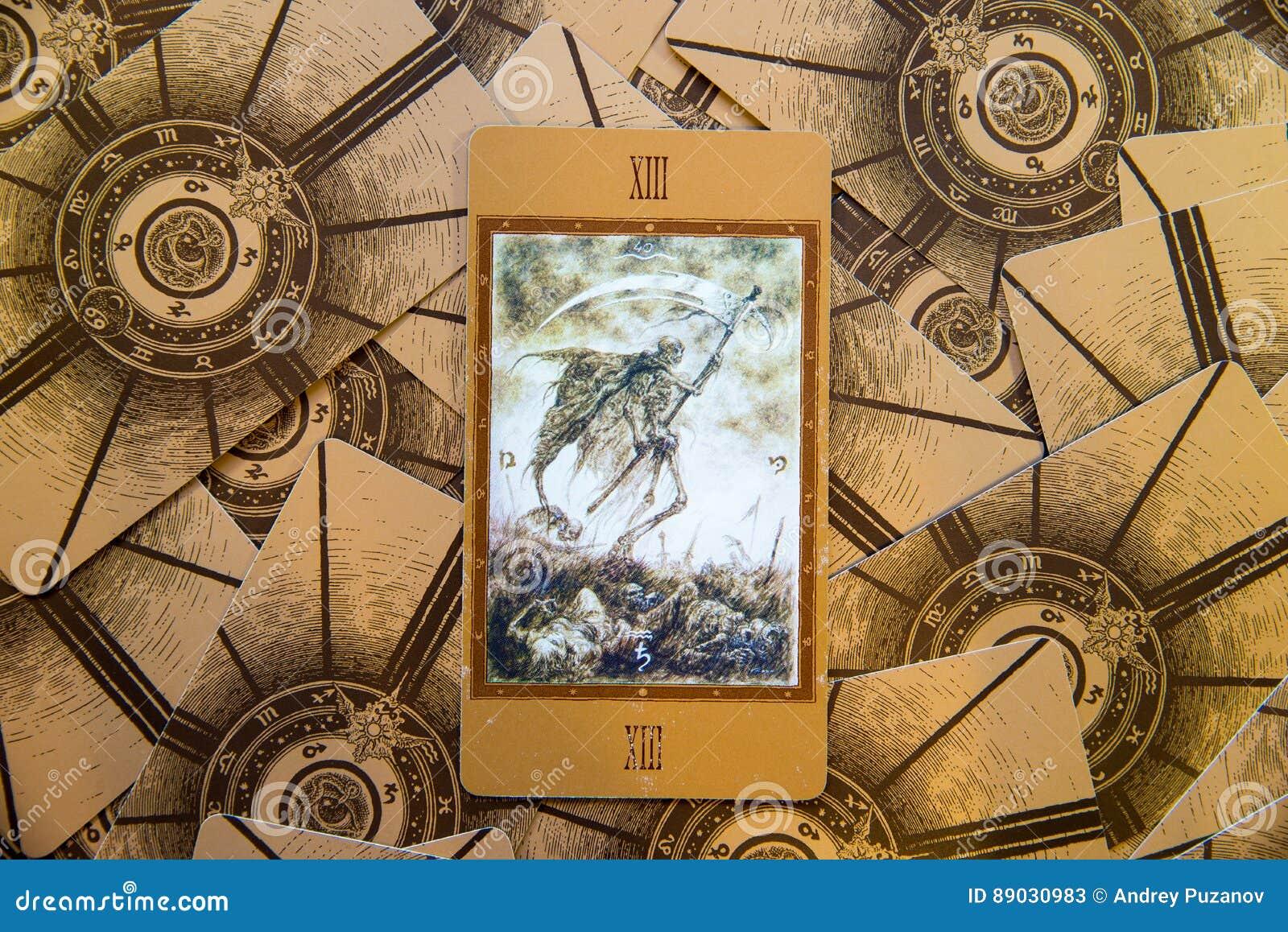 Tarot Karty Smierc Labirinth Tarot Poklad Ezoteryk Tlo Zdjecie Stock