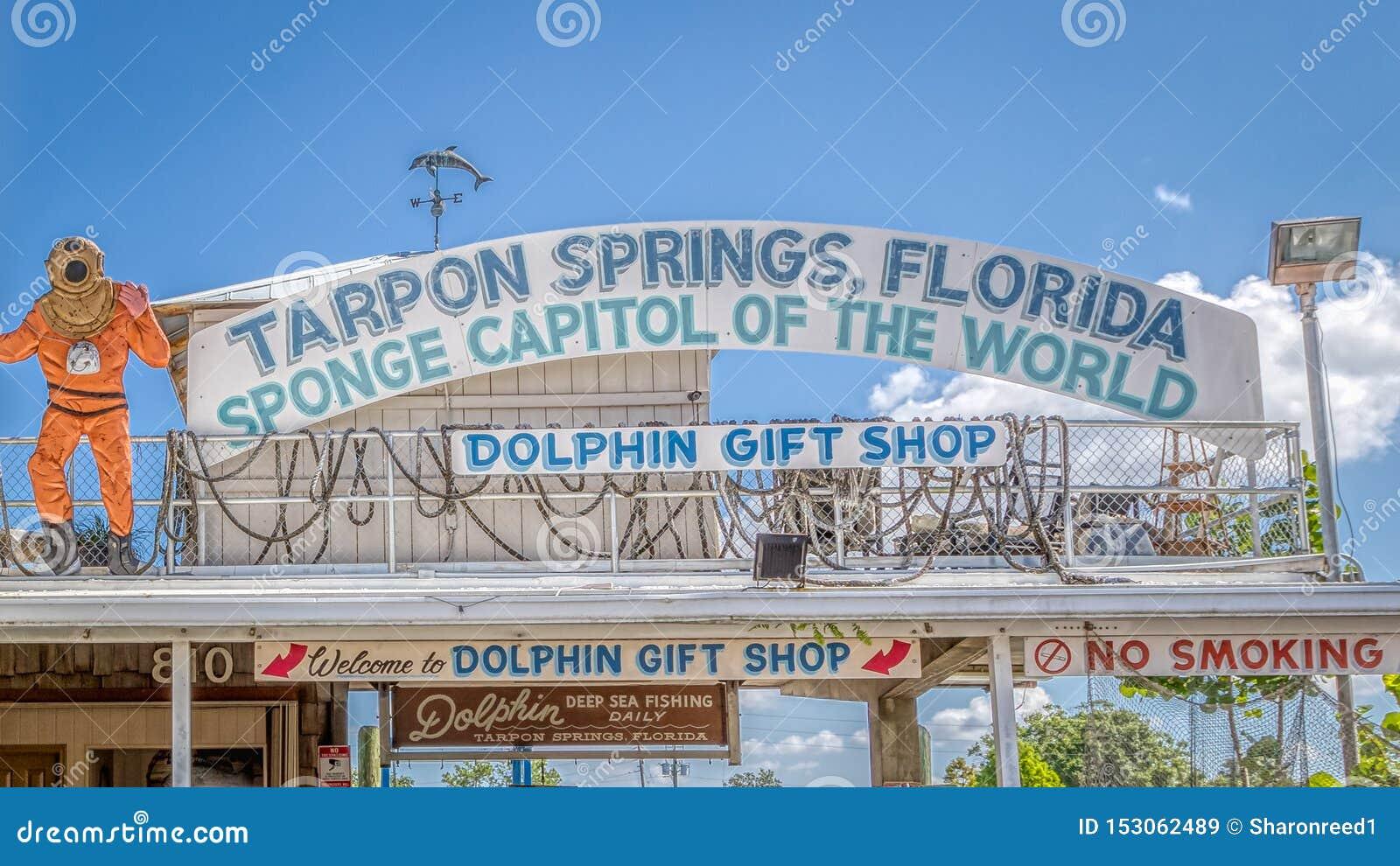 TARPON SPRINGS, FLORIDA - JUNE 30, 2019: Sponge capital of the world Dolphin gift shop sign