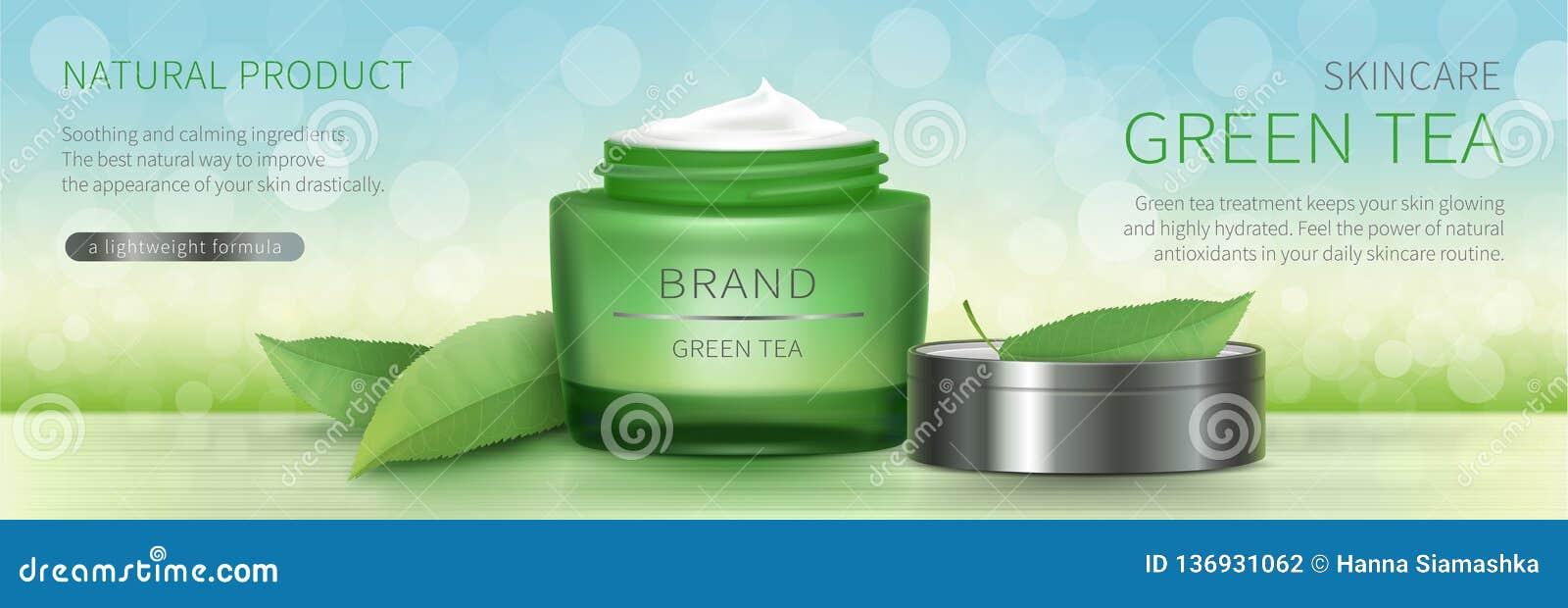 Tarro de cristal verde con crema natural