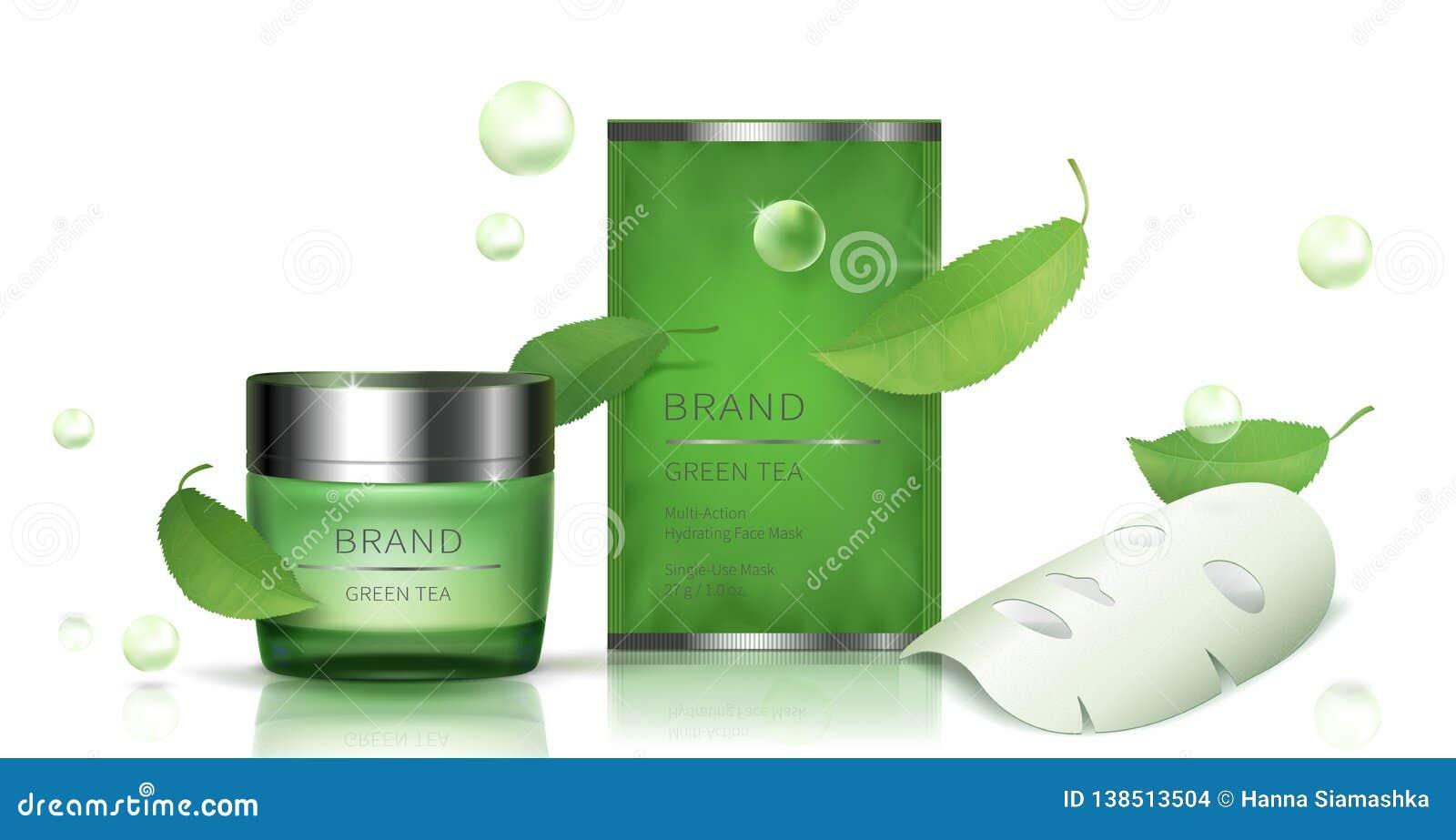 Tarro de cristal verde y máscara facial de la hoja