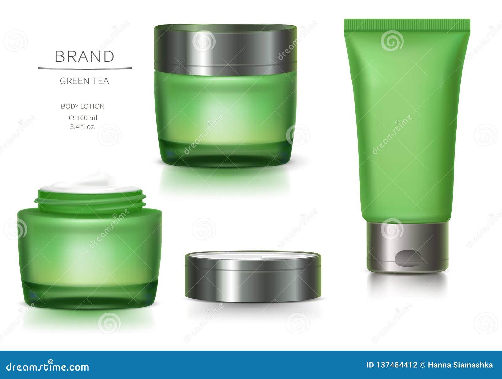 Tarro de cristal verde y tubo plástico