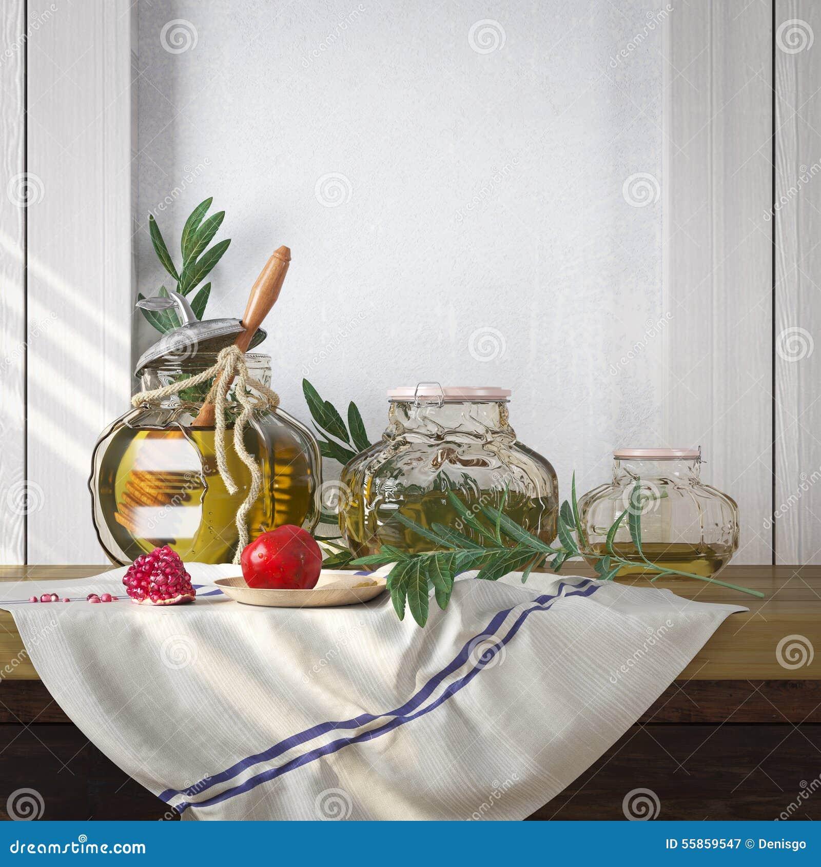Tarro de la miel con las manzanas y día de fiesta del hebreo de Rosh Hashana de la granada