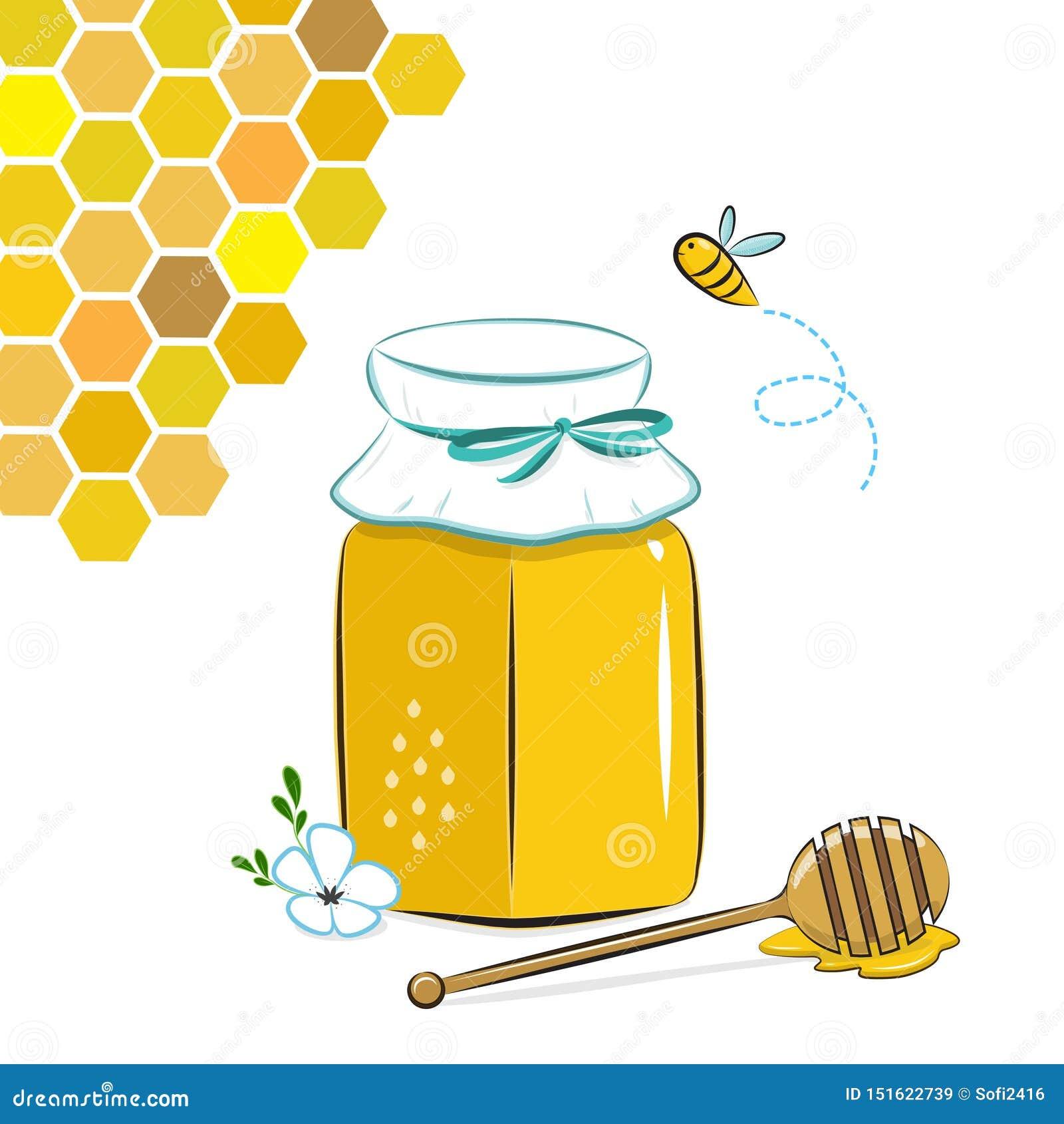 Tarro, panal y abeja de la miel Miel en tarro con el cazo de la miel