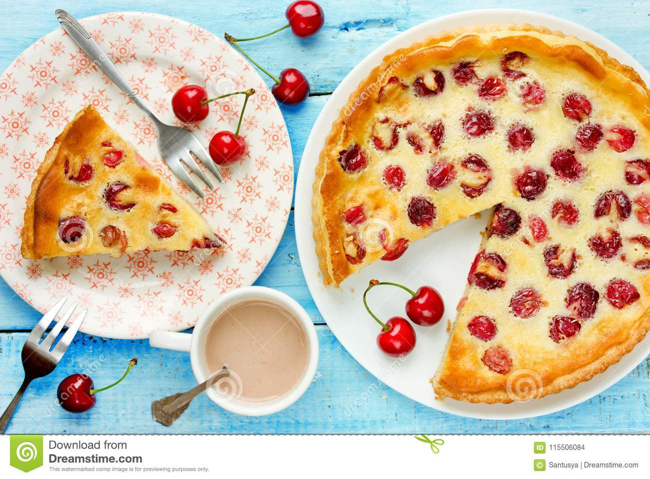 Tart with cherry and sour cream filling, fruit pie, summer cake