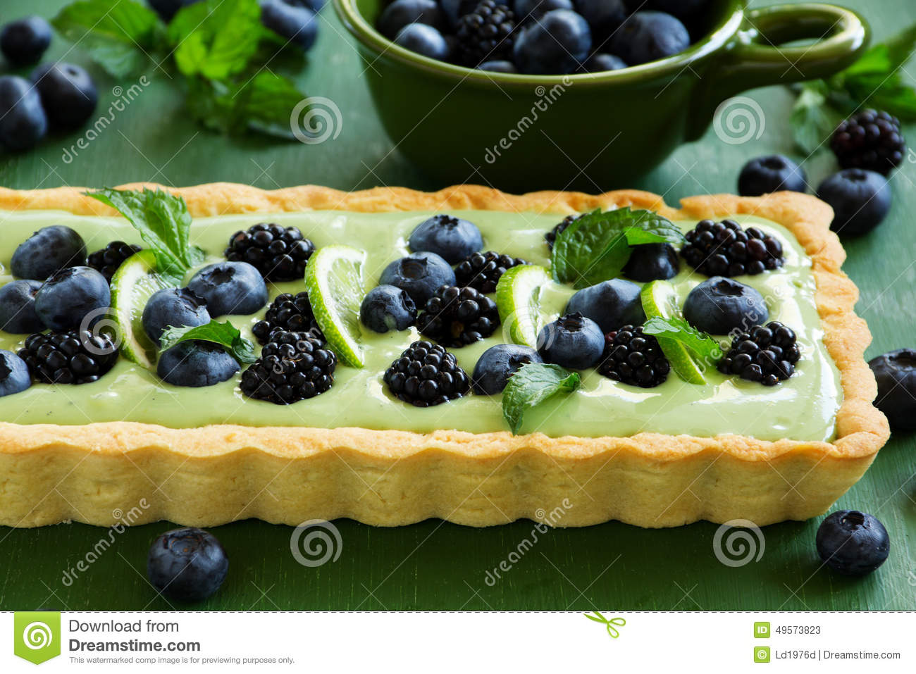 Tart with cream tea match with summer berries.