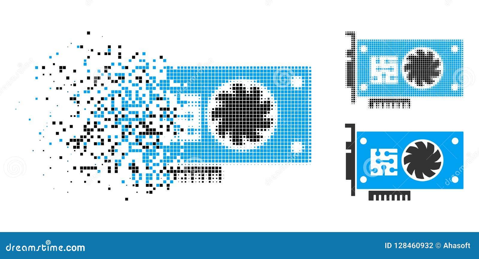 Tarta Pixelated Halftone GPU akceleratoru karty ikona