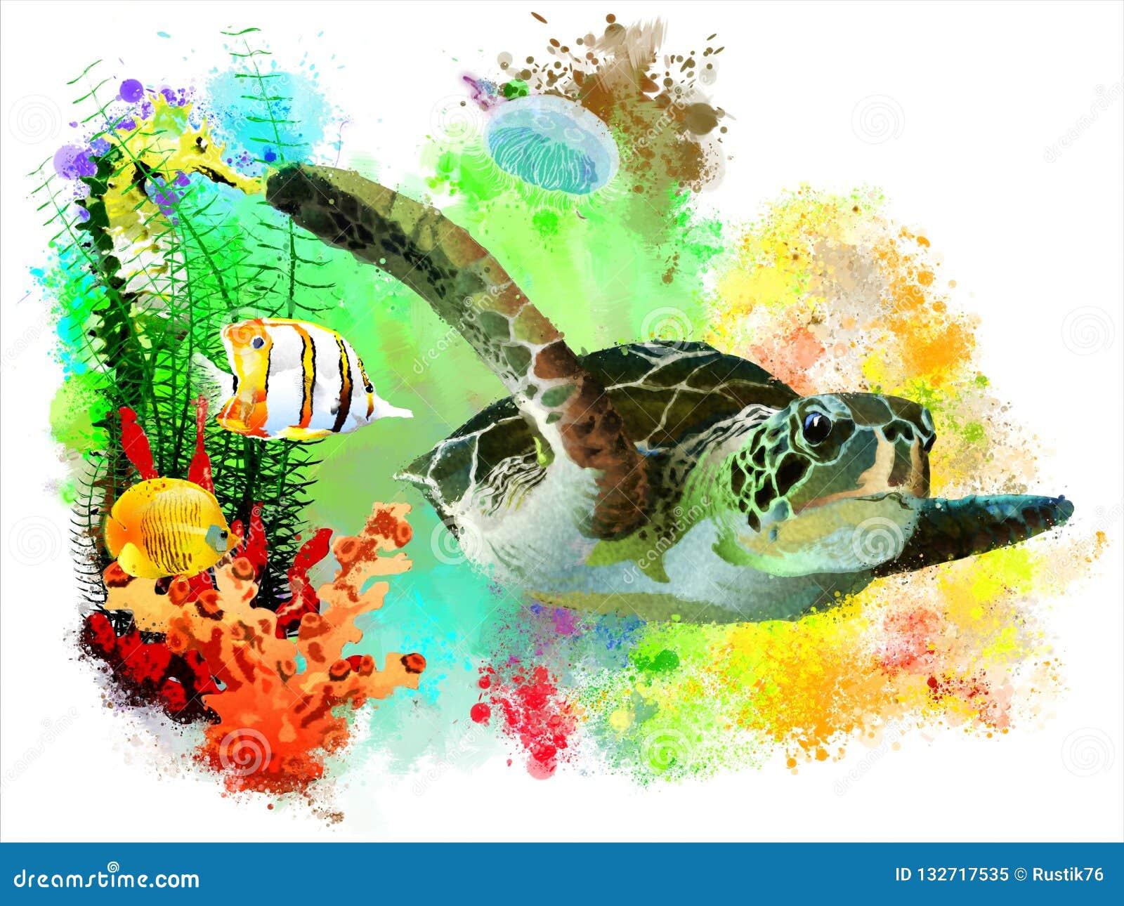 Tartaruga de mar e peixes tropicais no fundo abstrato da aquarela