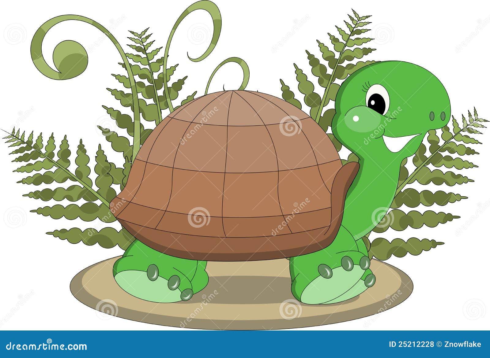 Tartaruga tropicale con la felce illustrazione di stock for Tartaruga di palude