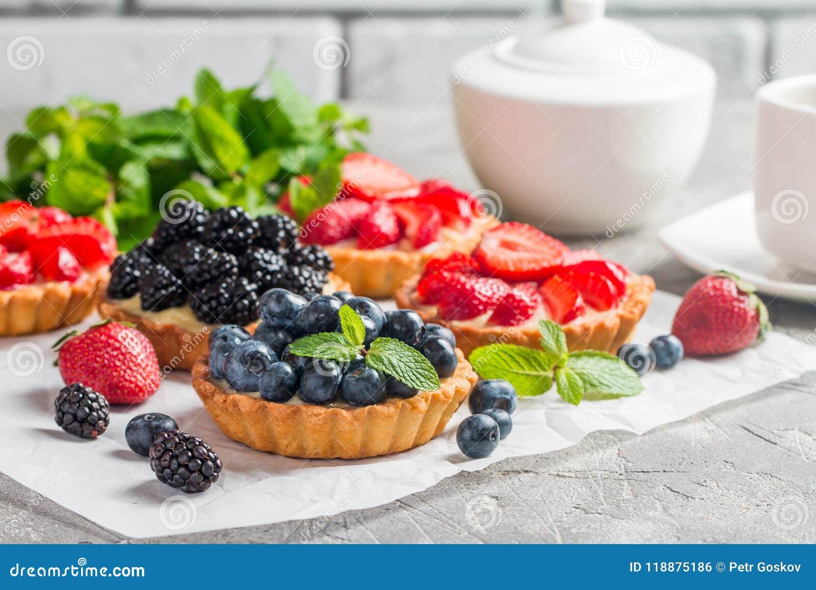 Tartas hechas en casa frescas del berrie