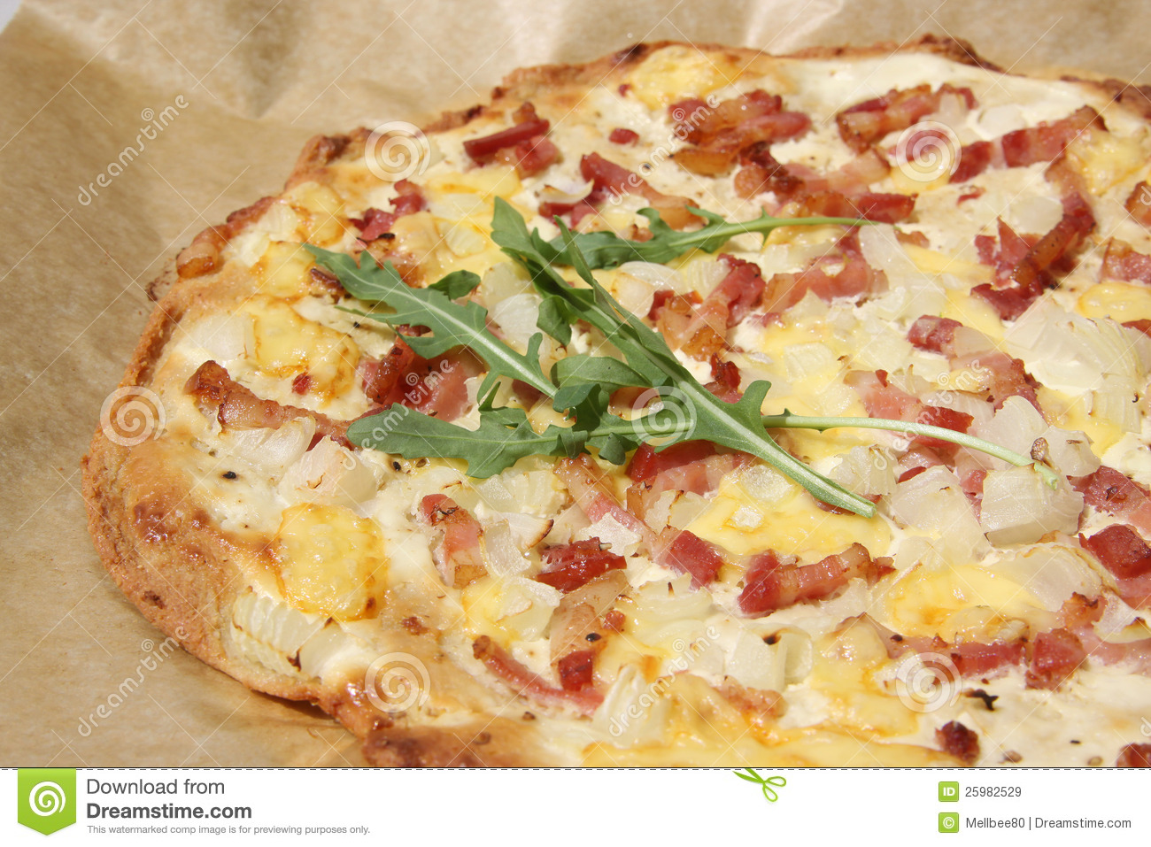 Home made flammkuchen tarte flambée with sour cream, onions and ...