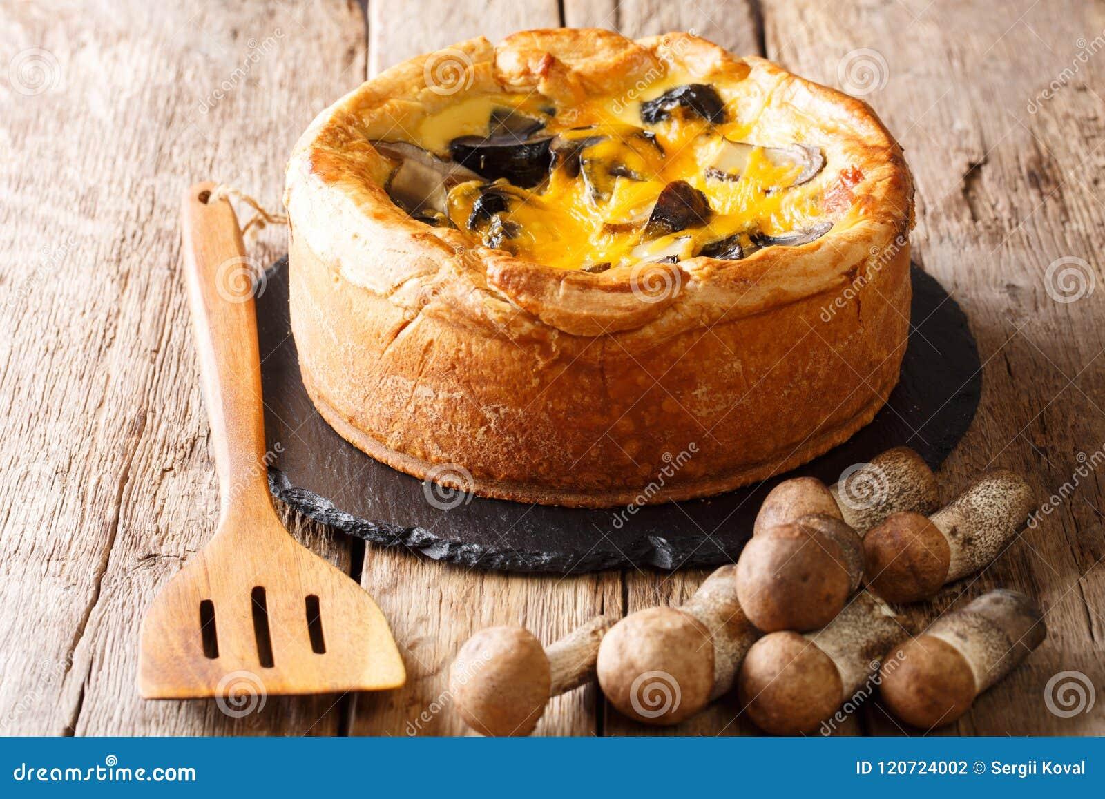 Tarte savoureux délicieux avec les champignons sauvages, fromage de cheddar, chicke