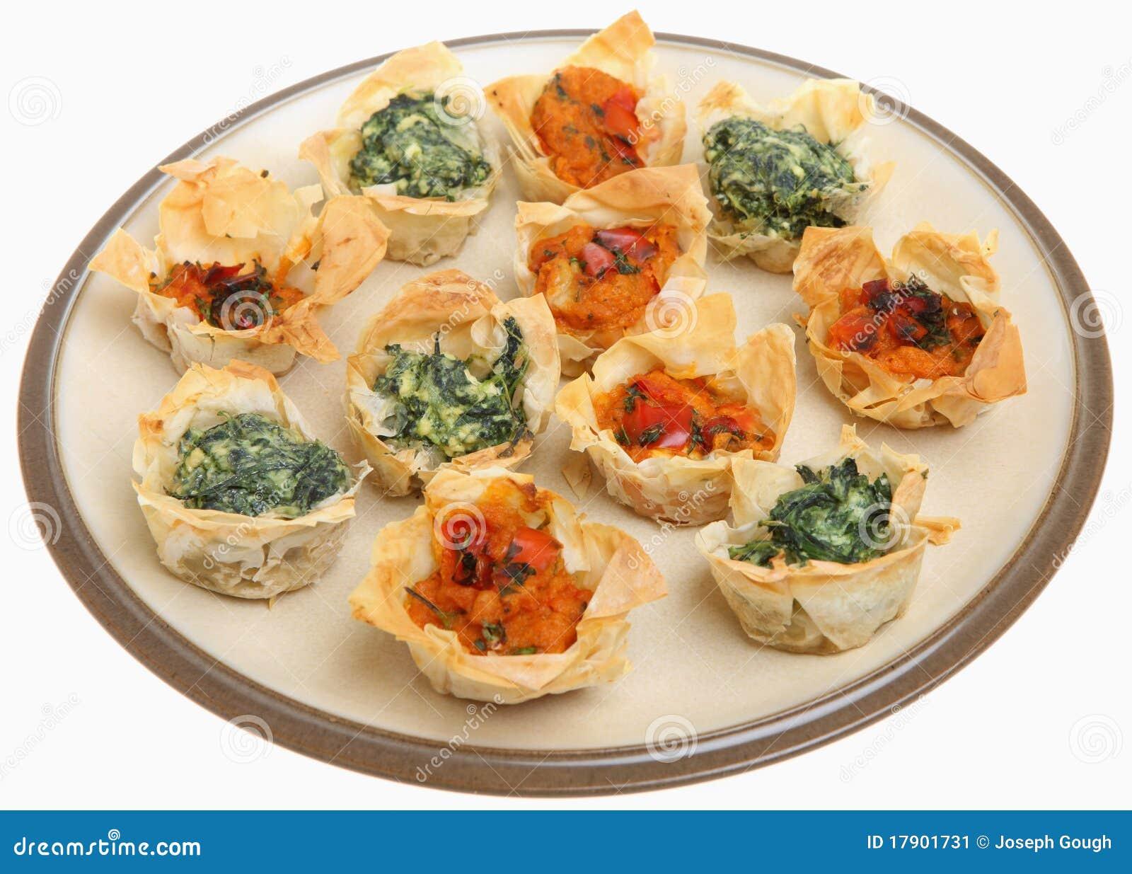 Tartlets mediterráneos de Filo