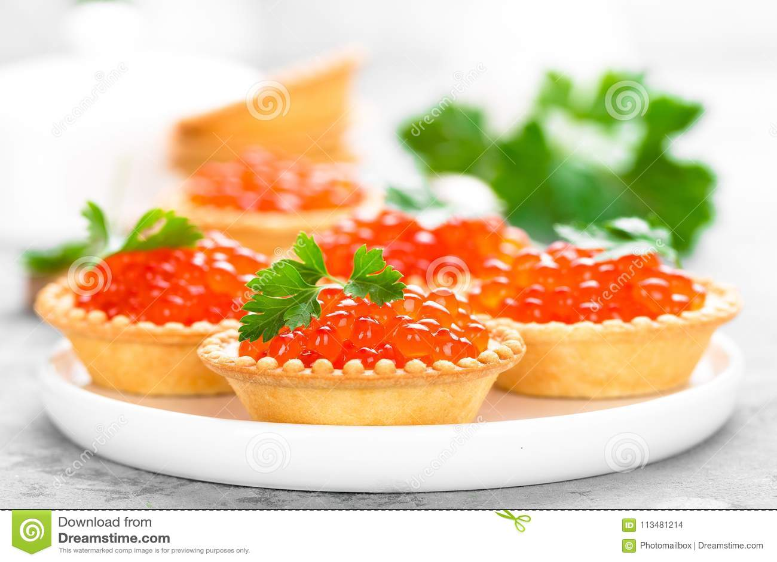 Tartlets With Red Salmon Fish Caviar Salmon Caviar Caviar Stock