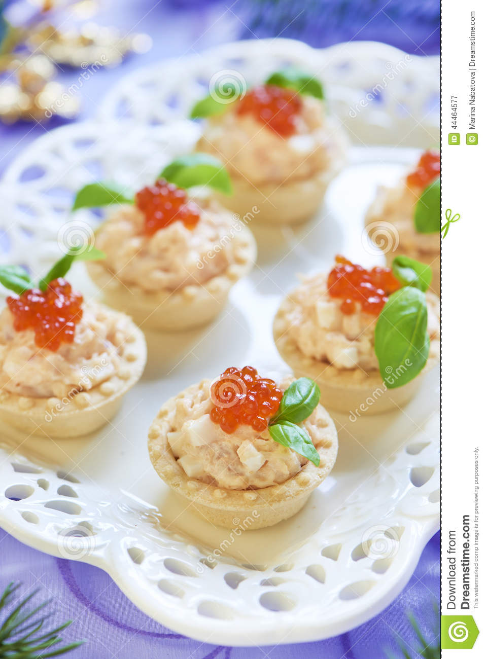Download Tartlets With Seafood Salad, Red Caviar And Basil Stock Image - Image of platter, christmas: 44464577