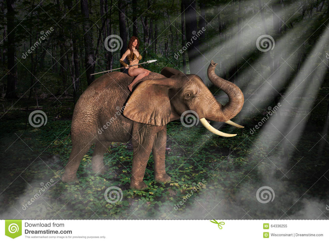 Tarzan or Amazon like jungle girl is riding an elephant. They are in ...