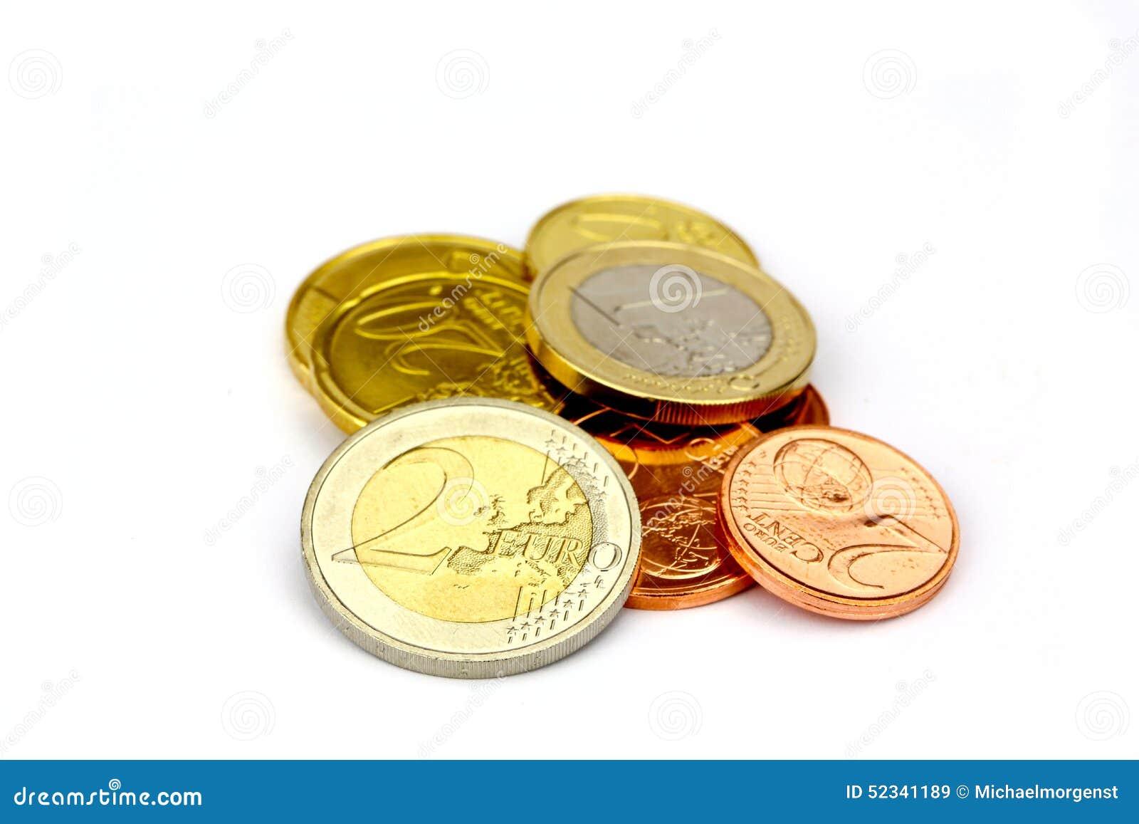 tas d 39 euro pi ces de monnaie image stock image du europ en isolement 52341189. Black Bedroom Furniture Sets. Home Design Ideas