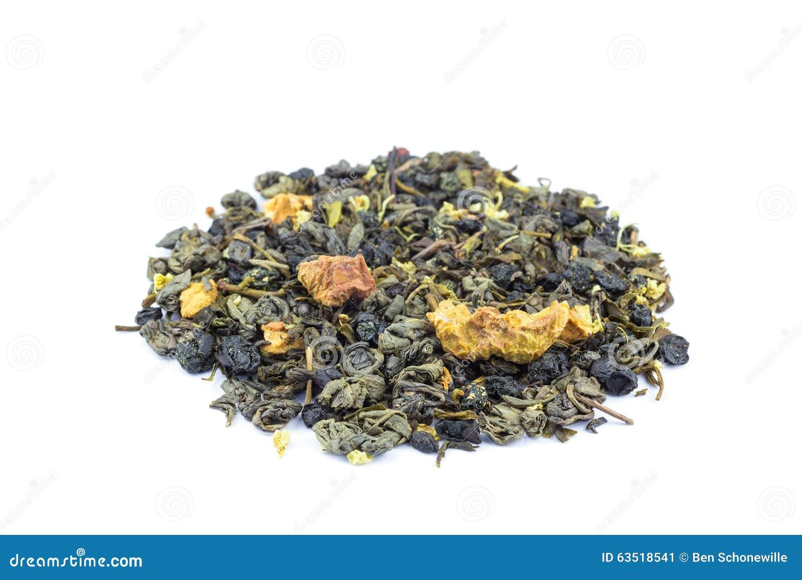 Tas de thé lâche biologique de mélange de voyage par la route sur le blanc