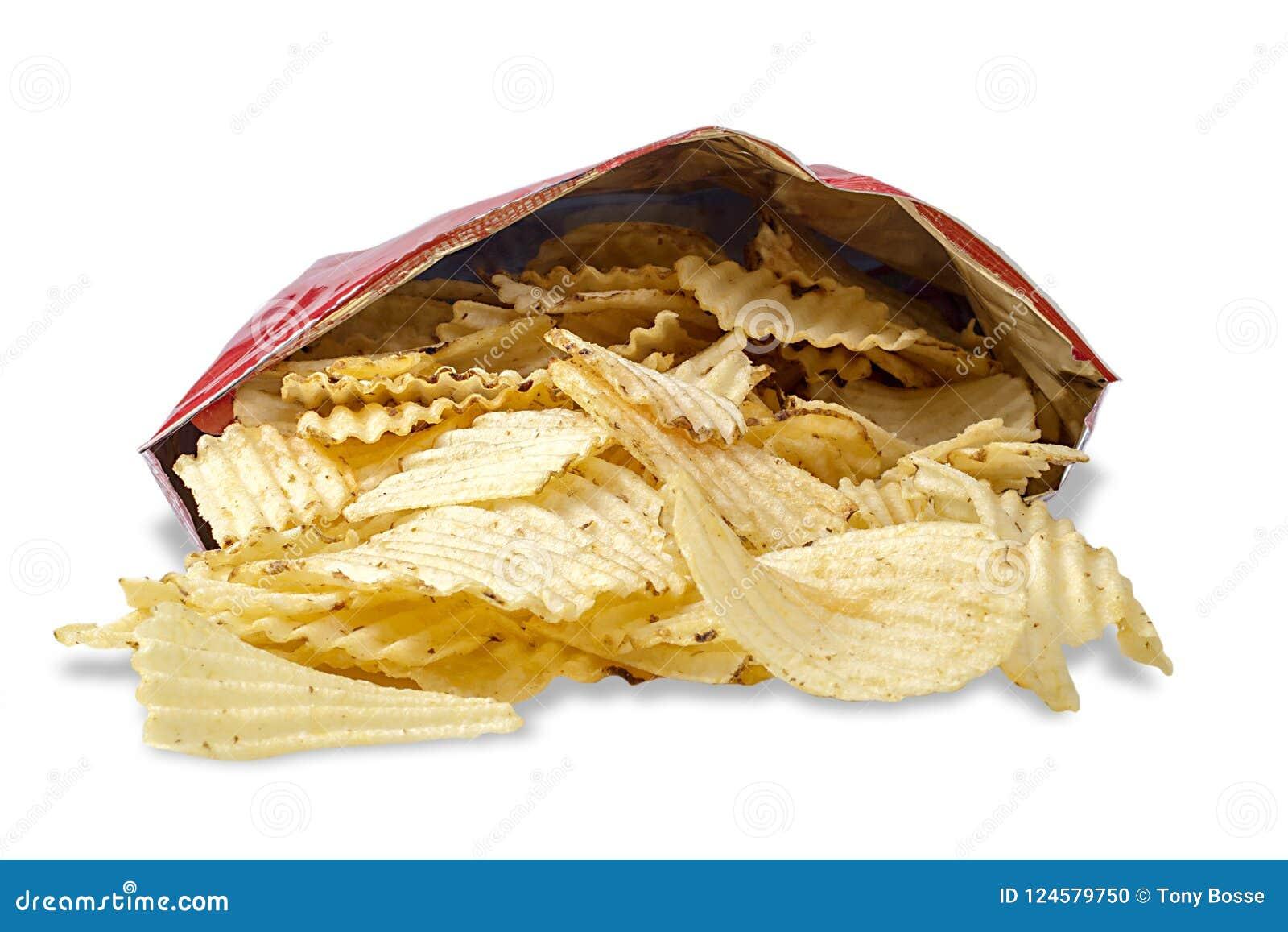 Tasche der Kartoffel Chips On White