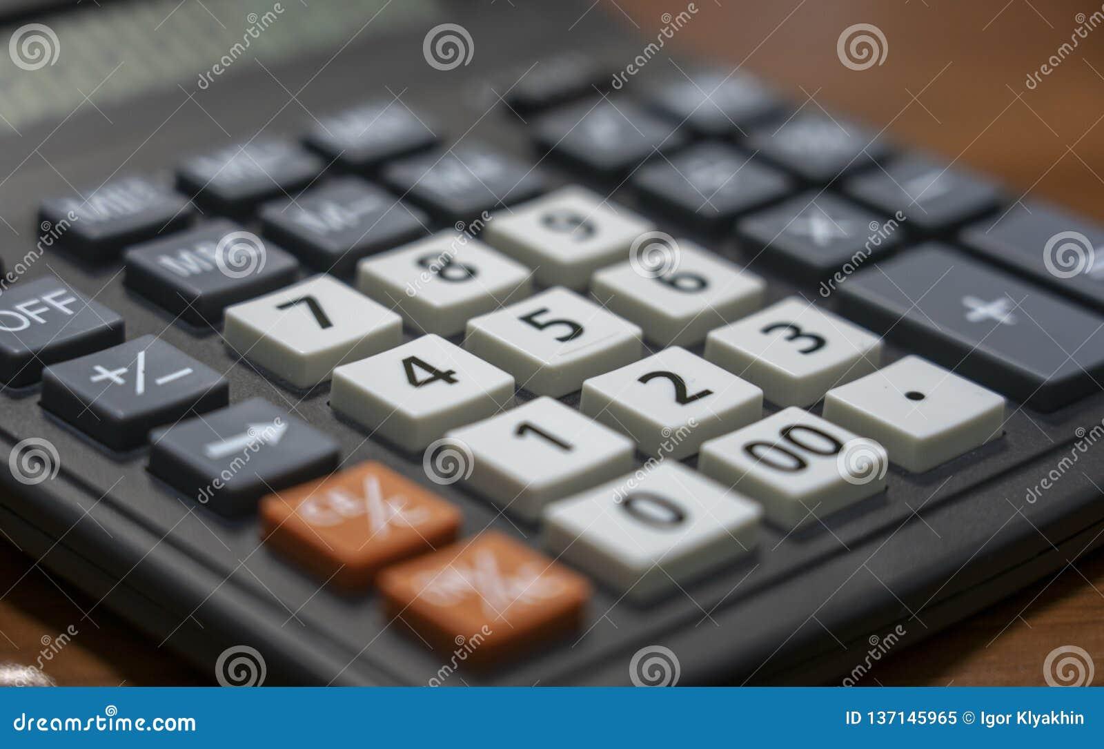 Taschenrechnerschlüssel-Nahaufnahmetastatur