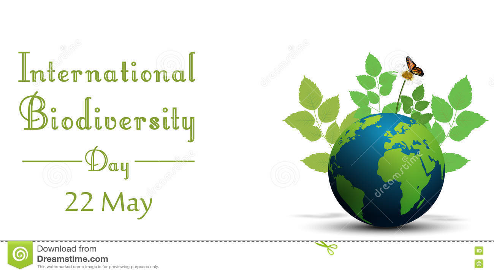 Tasiemkowy kształt z liśćmi i motylami na ziemi dla międzynarodowego różnorodność biologiczna dnia