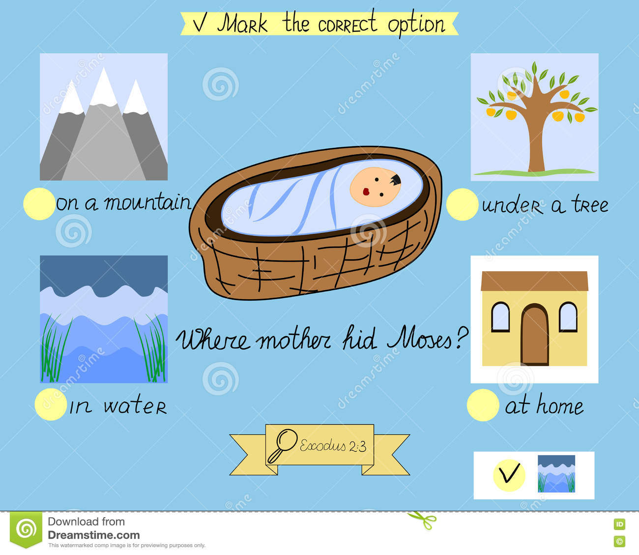task for the children which was hidden little moses a biblical