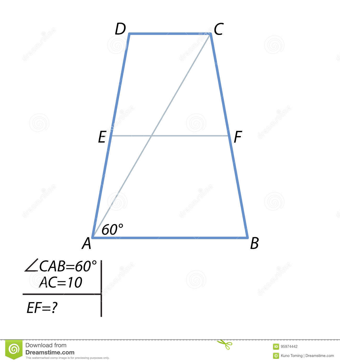 How to find the middle line of an isosceles trapezoid