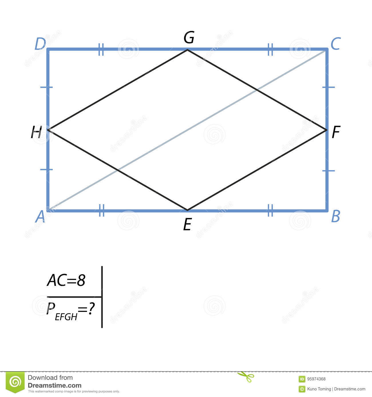 The Task Of Finding The Perimeter Of A Quadrilateral In A Rectangle Stock  Illustration